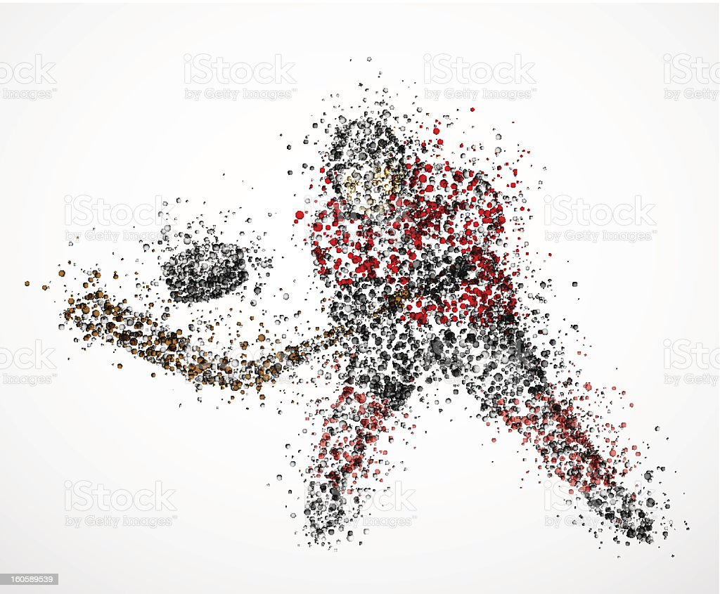 Abstract hockey player vector art illustration