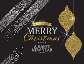 Glitter  Abstract Holiday Card Template With Gold shiny Designs. New Years or Christmas Party Template.