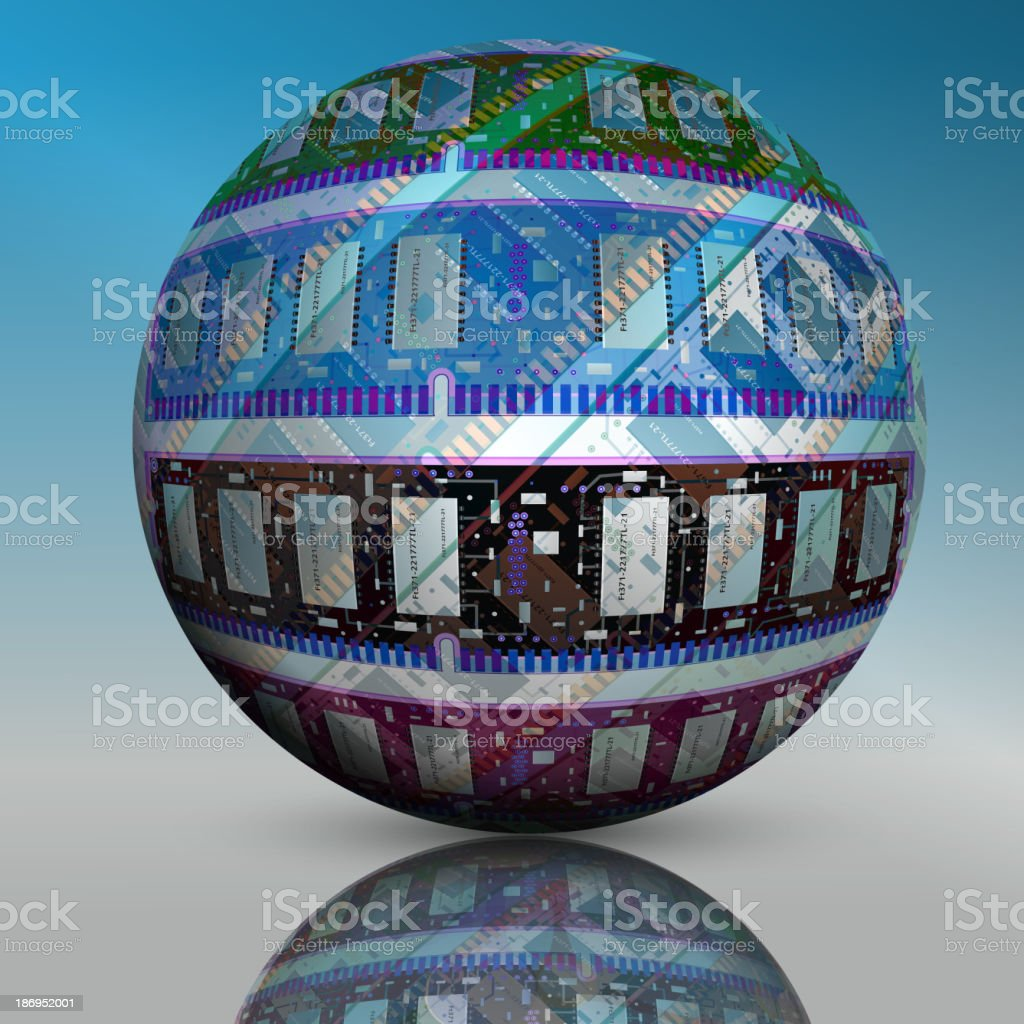 Abstract hollow sphere, chip royalty-free stock vector art