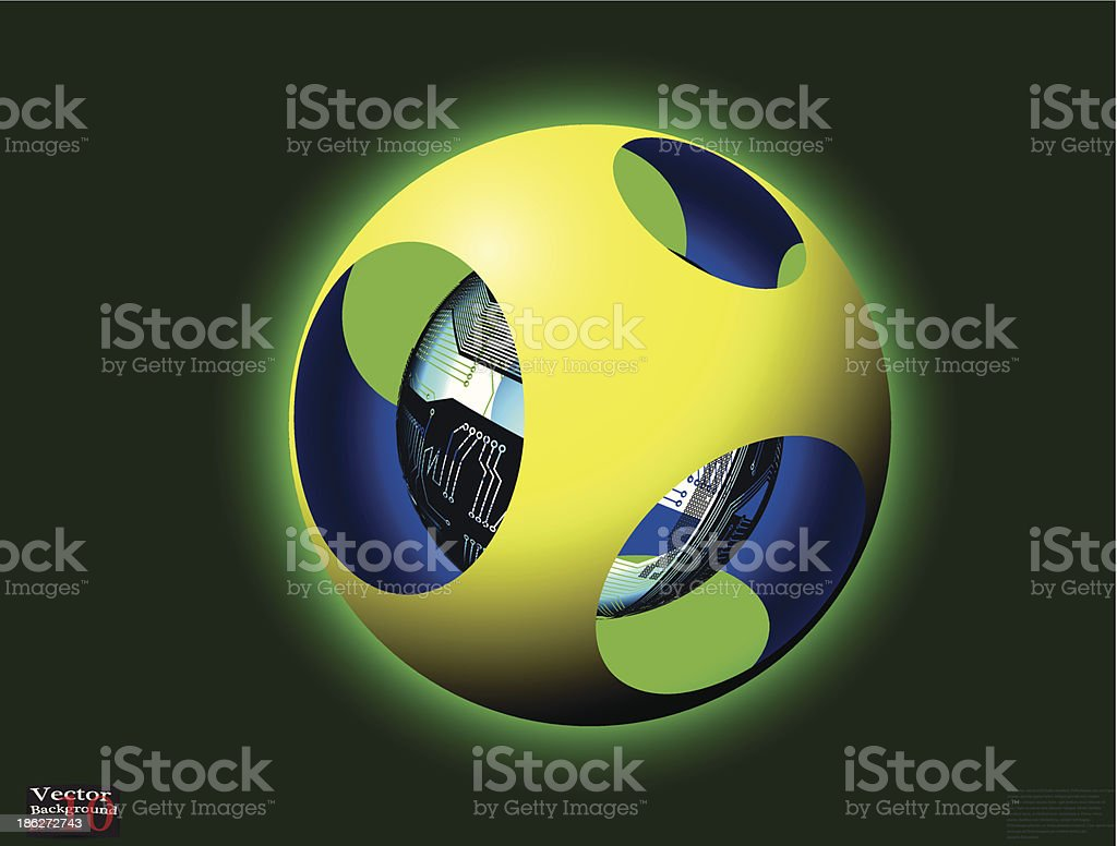 Abstract hollow spheres, PSB royalty-free stock vector art