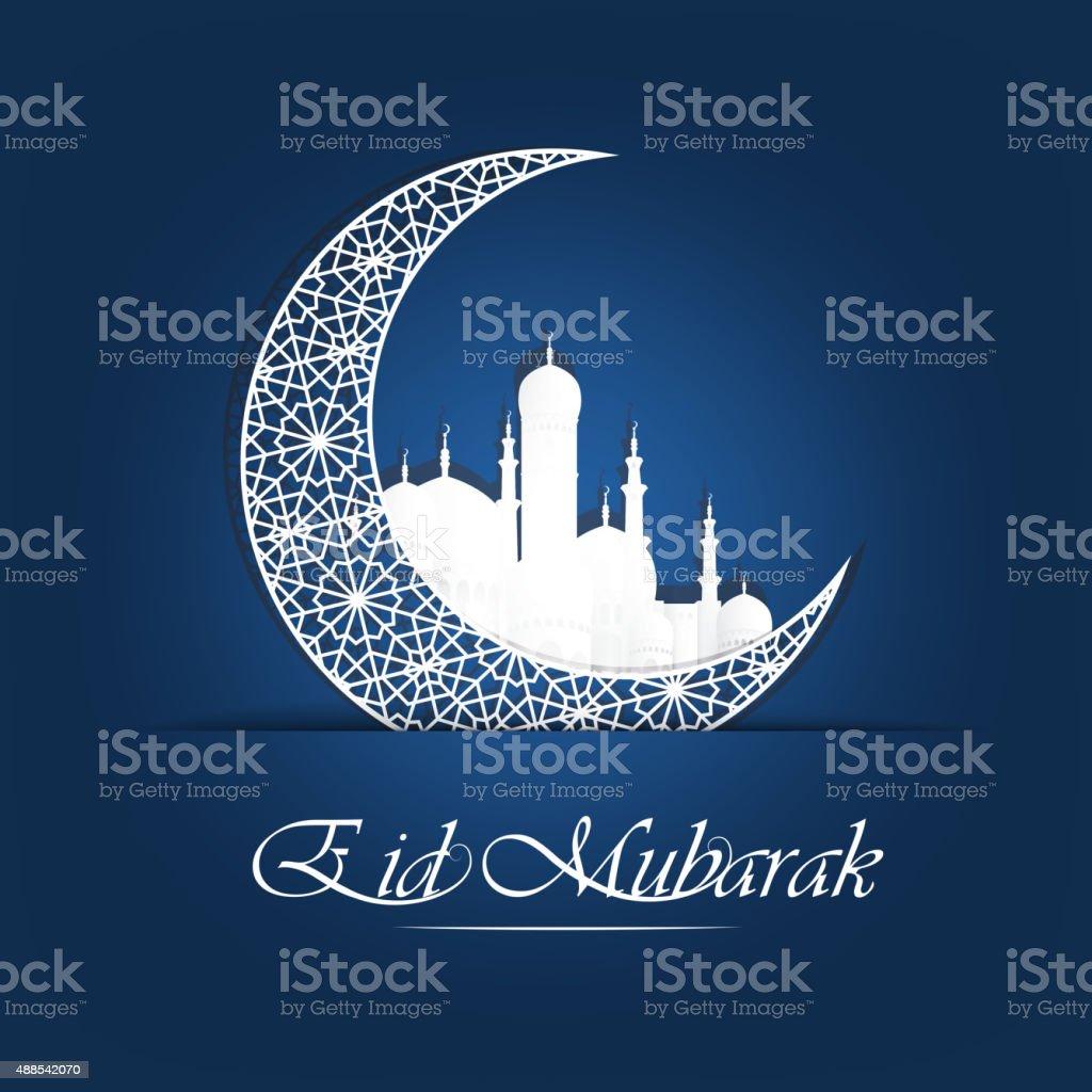 Abstract holy background for eid mubarak vector art illustration
