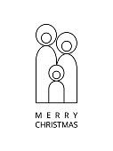 abstract minimalist Holy family Christmas card.  You can edit the colors or sizes easily if you have Adobe Illustrator or other vector software. All shapes are vector