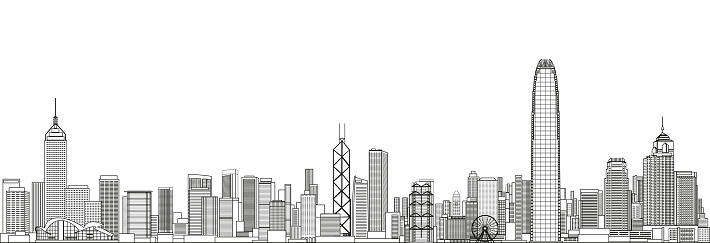 abstract Hong Kong cityscape line art style vector detailed illustration. Travel background