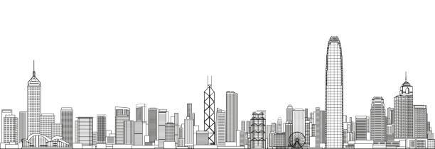 illustrazioni stock, clip art, cartoni animati e icone di tendenza di abstract hong kong cityscape line art style vector detailed illustration. travel background - hong kong