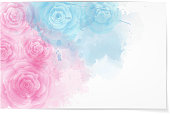 Abstract watercolor background in pink and blue colors with roses. eps10 - contains transparencies