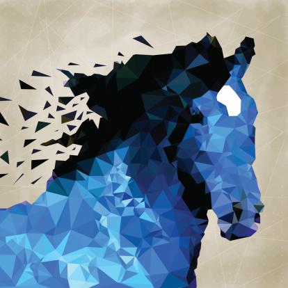 Abstract horse of geometric shape, symbol