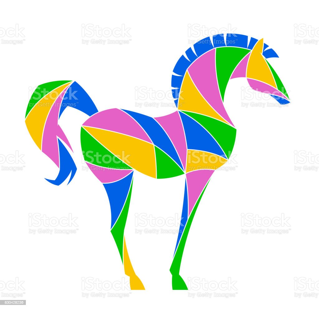 Abstract horse vector art illustration