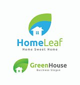 Abstract House and Leaf Logo Template Design.