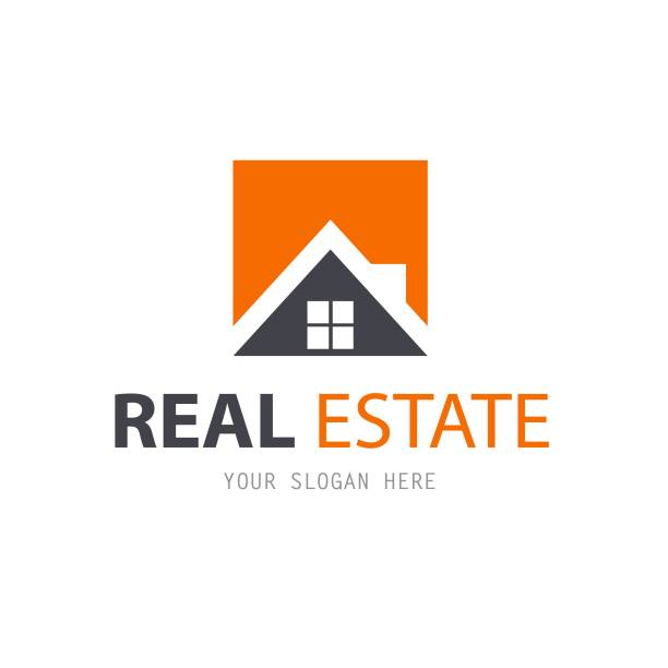 abstract house logo design template. business vector icon. real estate - real estate logos stock illustrations, clip art, cartoons, & icons