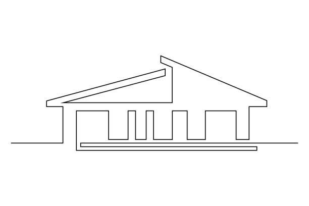 ilustrações de stock, clip art, desenhos animados e ícones de abstract house - obras em casa janelas