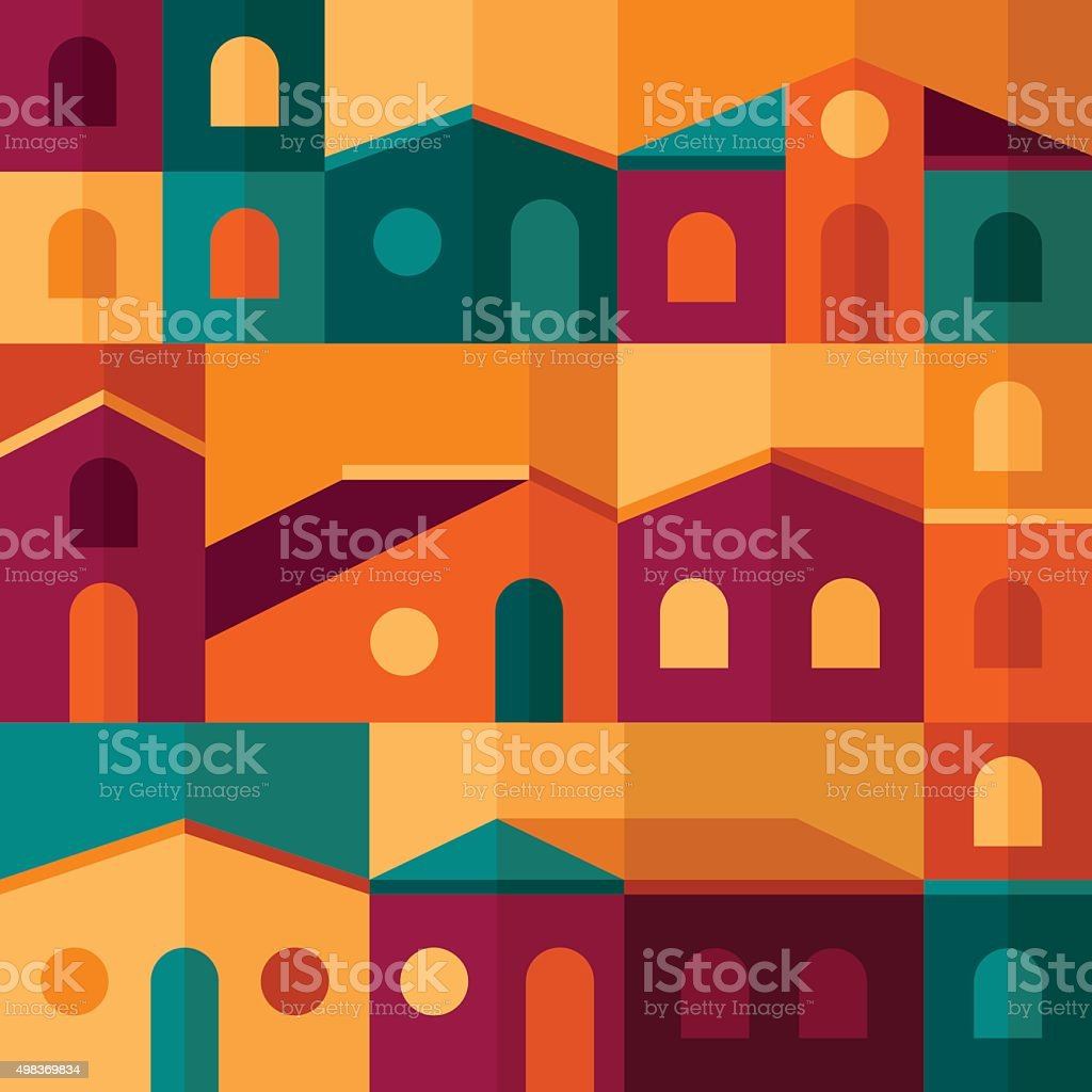 Abstract Houses and Buildings Background vector art illustration