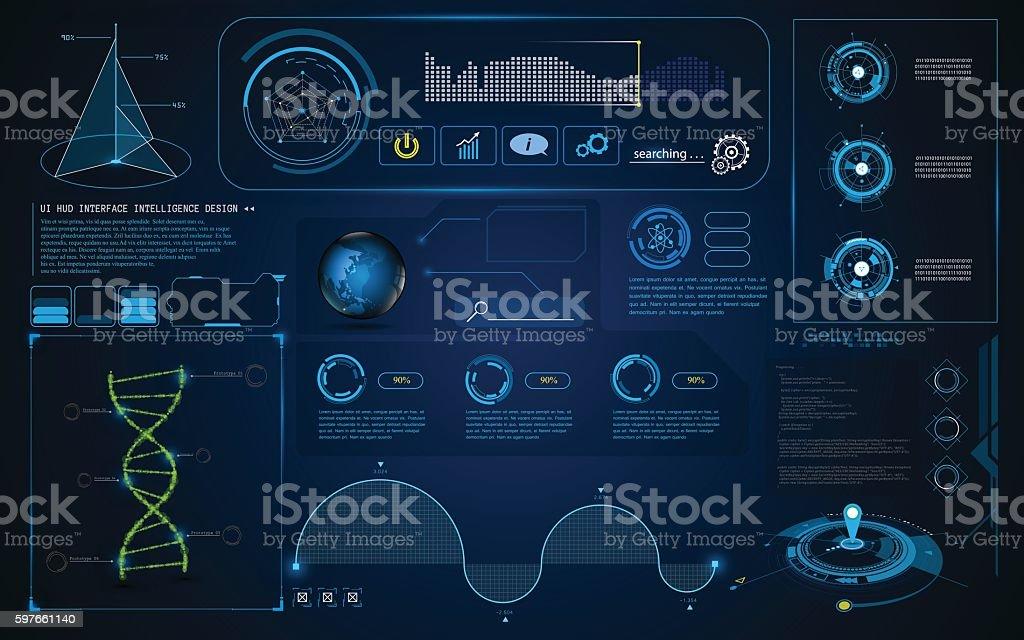 abstract HUD interface UI Screen smart technology innovation concept vector art illustration