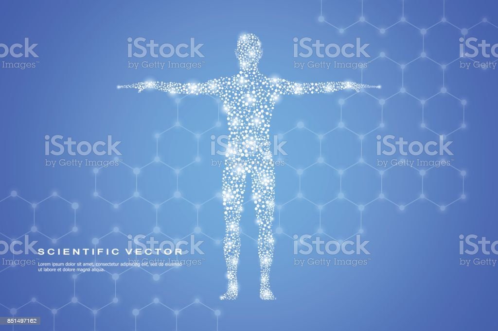 Abstract human body with molecules DNA. Medicine, science and technology concept. Vector illustration royalty-free abstract human body with molecules dna medicine science and technology concept vector illustration stock illustration - download image now