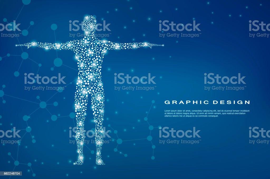 Corps humain abstrait avec des molécules d'ADN. Concept de la médecine, des sciences et des technologies. Illustration vectorielle - Illustration vectorielle