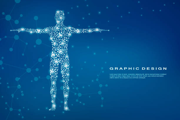 Abstract human body with molecules DNA. Medicine, science and technology concept. Vector illustration Abstract human body with molecules DNA. Medicine, science and technology concept. Vector illustration human representation stock illustrations