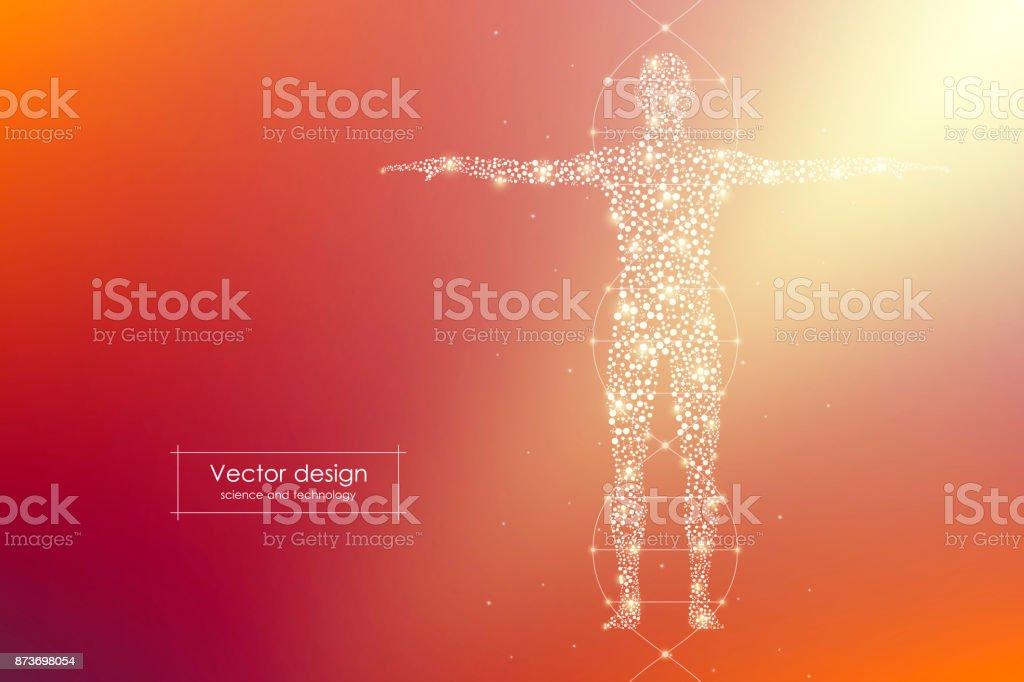 Cuerpo humano abstracto con moléculas de ADN. Concepto de la medicina, la ciencia y la tecnología. Ilustración de vector - ilustración de arte vectorial
