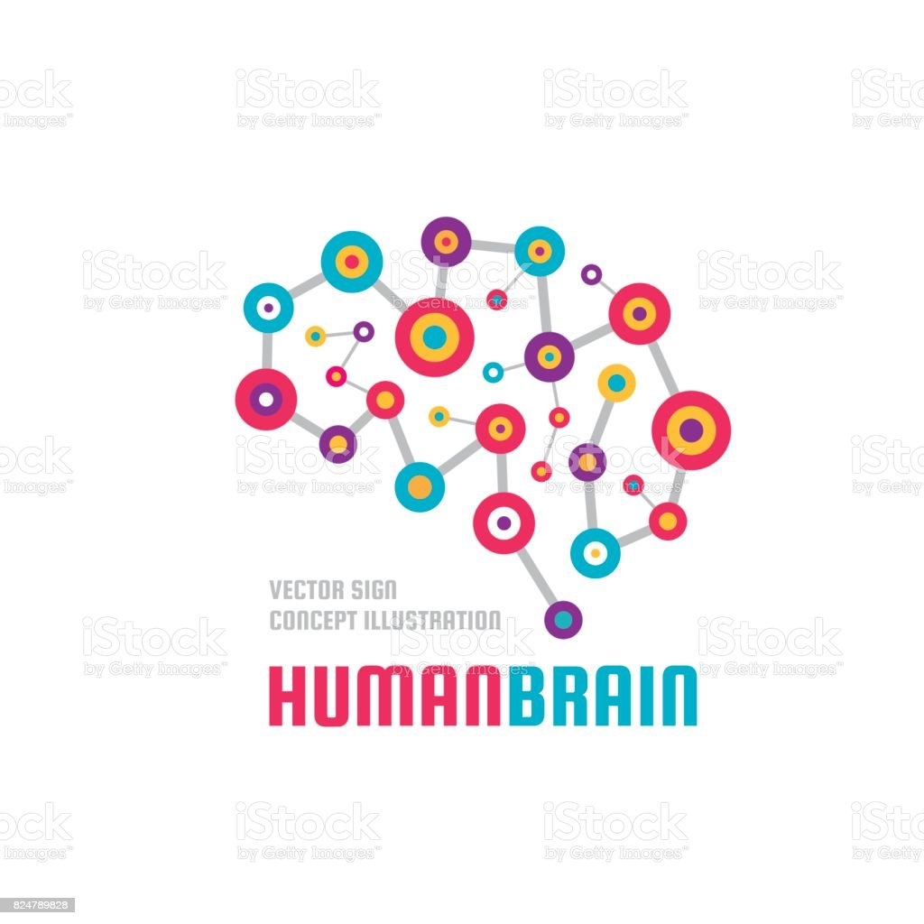 Abstract human brain - business vector icon template concept illustration. Creative idea colorful sign. Infographic symbol. Colored design element. vector art illustration