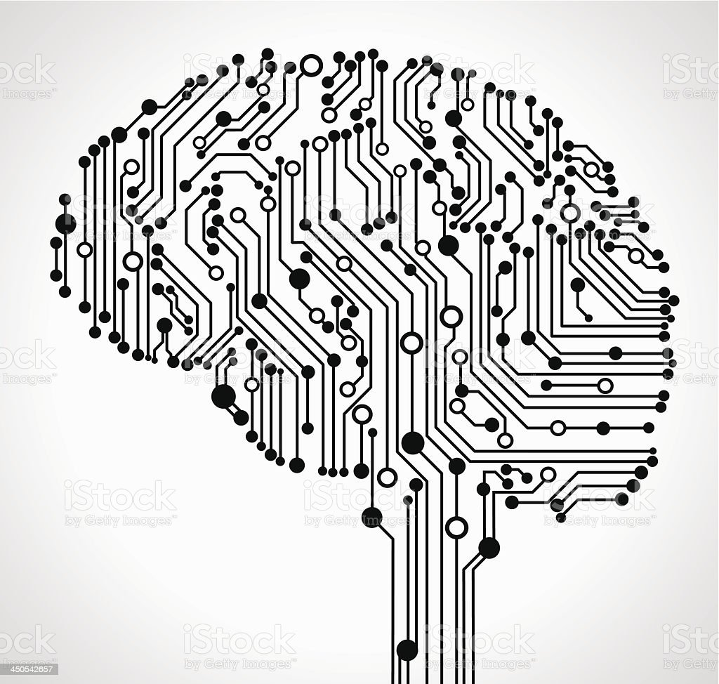 Abstract human brain vector art illustration