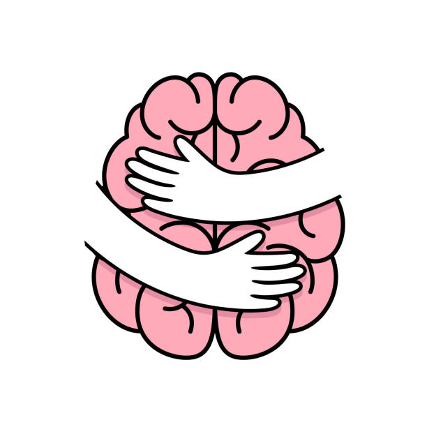 ilustrações de stock, clip art, desenhos animados e ícones de abstract human brain with hands. embrace internal organs. - future hug