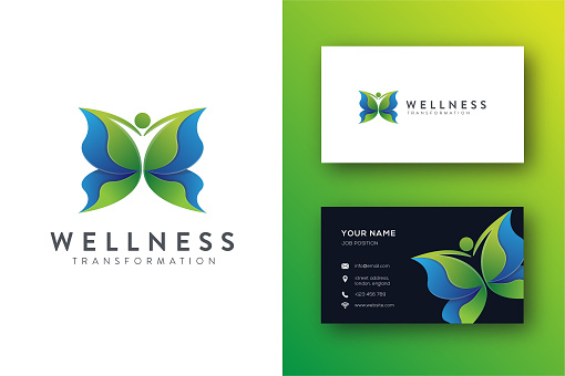 Abstract human butterfly transformation, wellness Icon vector and business card template
