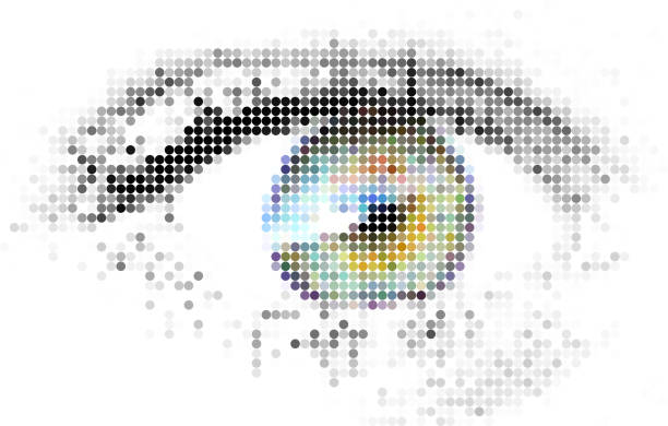 abstract human - digital - eye - крупный план stock illustrations