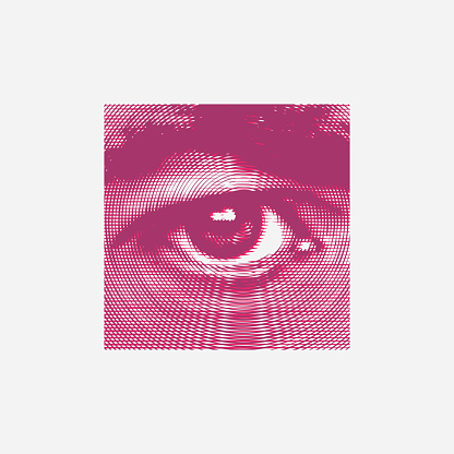 Abstract human eye and brow from circles close-up