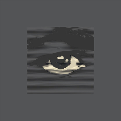 Abstract human eye from black bands close-up