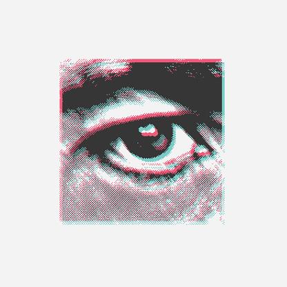 Abstract human eye from black dots close-up