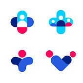 Abstract human figures and cross. Medicine and health care vector logo mark templates or icons set