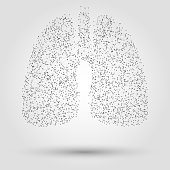 Abstract human lung from dots and lines