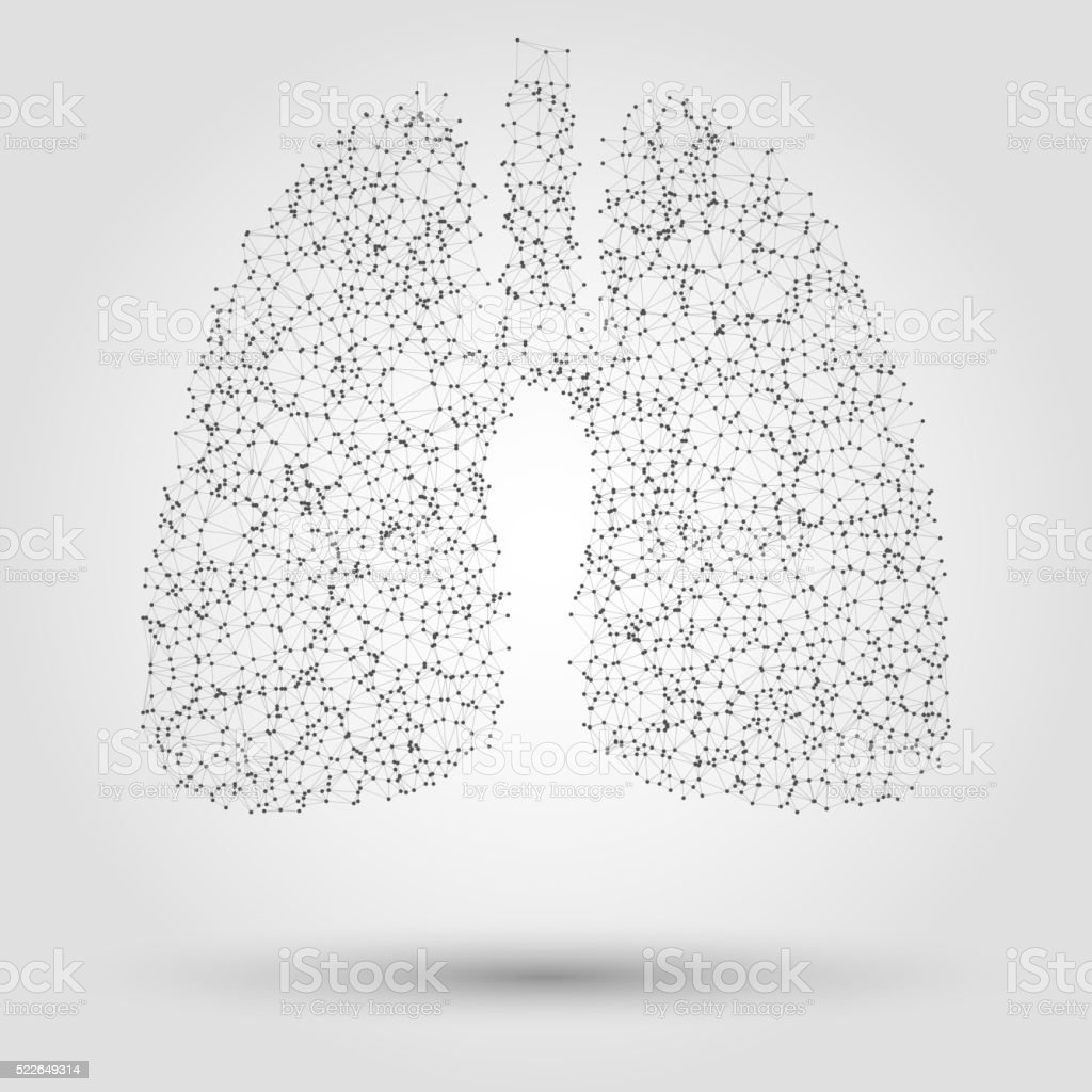 Abstract human lung from dots and lines vector art illustration
