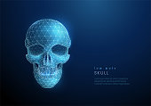 Abstract human skull. Low poly style design. Abstract geometric background. Wireframe light connection structure. Modern 3d graphic concept. Isolated vector illustration.