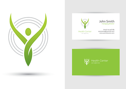 Abstract human symbol and business card design template