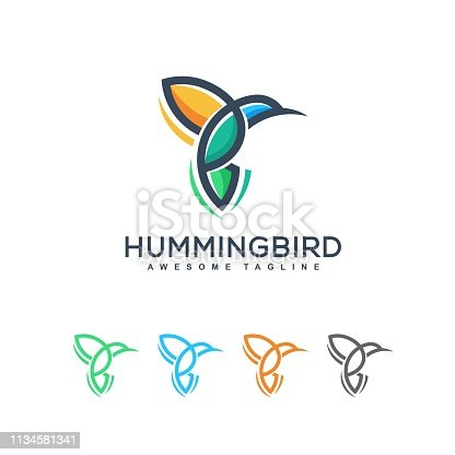 Abstract Hummingbird Idea illustration vector Design template.  Suitable for Creative Industry, Multimedia, entertainment, Educations, Shop, and any related business