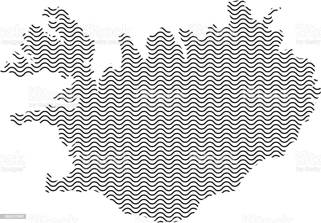 Abstract Iceland country silhouette of wavy black repeating lines. Contour of sinusoid curve. Vector illustration. vector art illustration