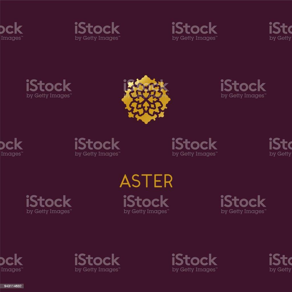 Abstract Icon Design Elegant Golden Flower Symbol Template For