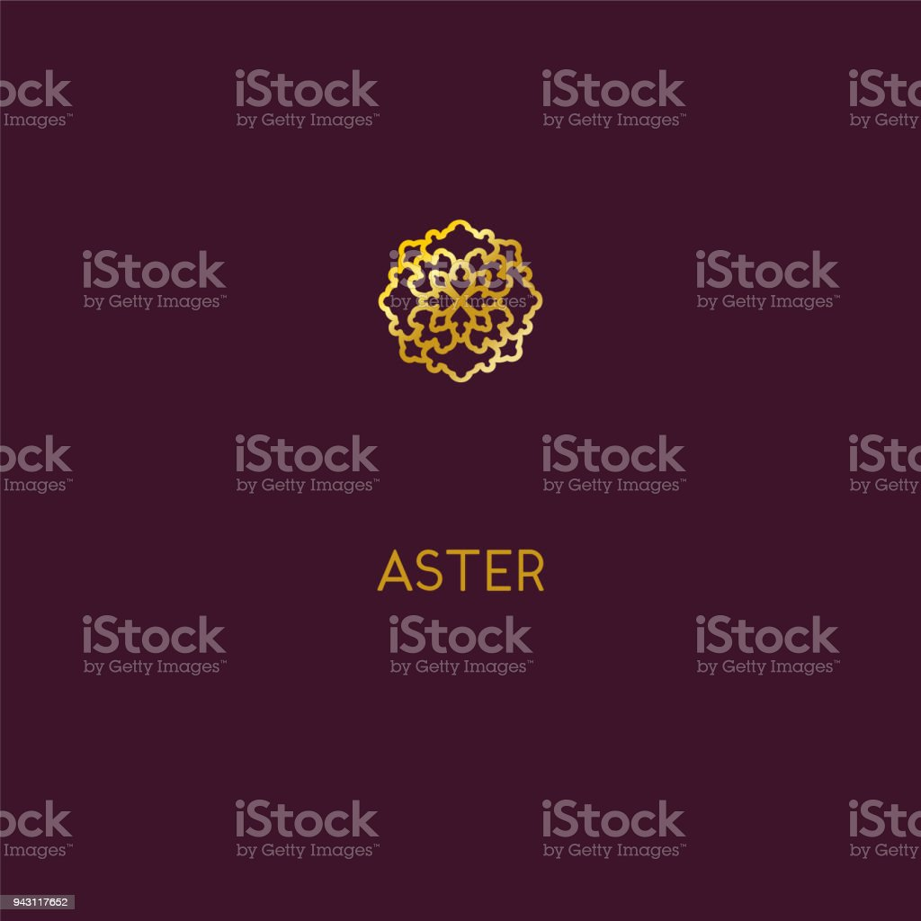 Abstract   icon design. Elegant Golden Flower symbol. Template for creating unique luxury design,  , artwork, exhibitions, auctions, corporate products, yoga studio, boutique, spa center, cosmetics, jewelry, hotel, business cards. Universal premium vector art illustration