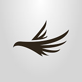 Black and white abstract icon flying bird