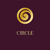Abstract icon icon design. Elegant Golden Circle Spiral symbol. Template for creating unique luxury design, icon, artwork, exhibitions, auctions, corporate products, yoga studio, boutique, spa center, jewelry, hotel, business cards. Universal premium vect
