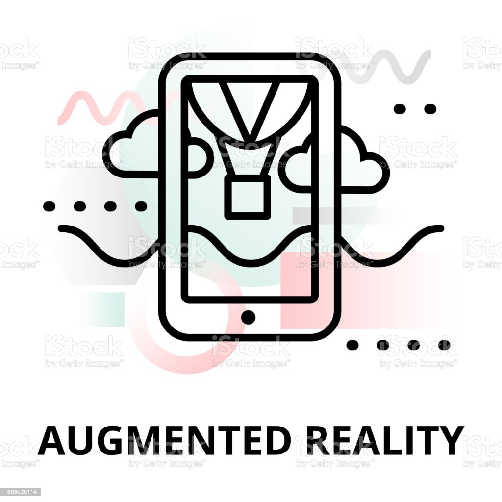Abstract icon of augmented reality vector art illustration