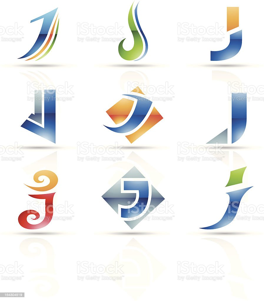 Abstract iconography of the letter J vector art illustration