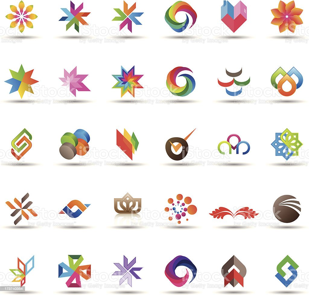 Abstract icons collection vector art illustration