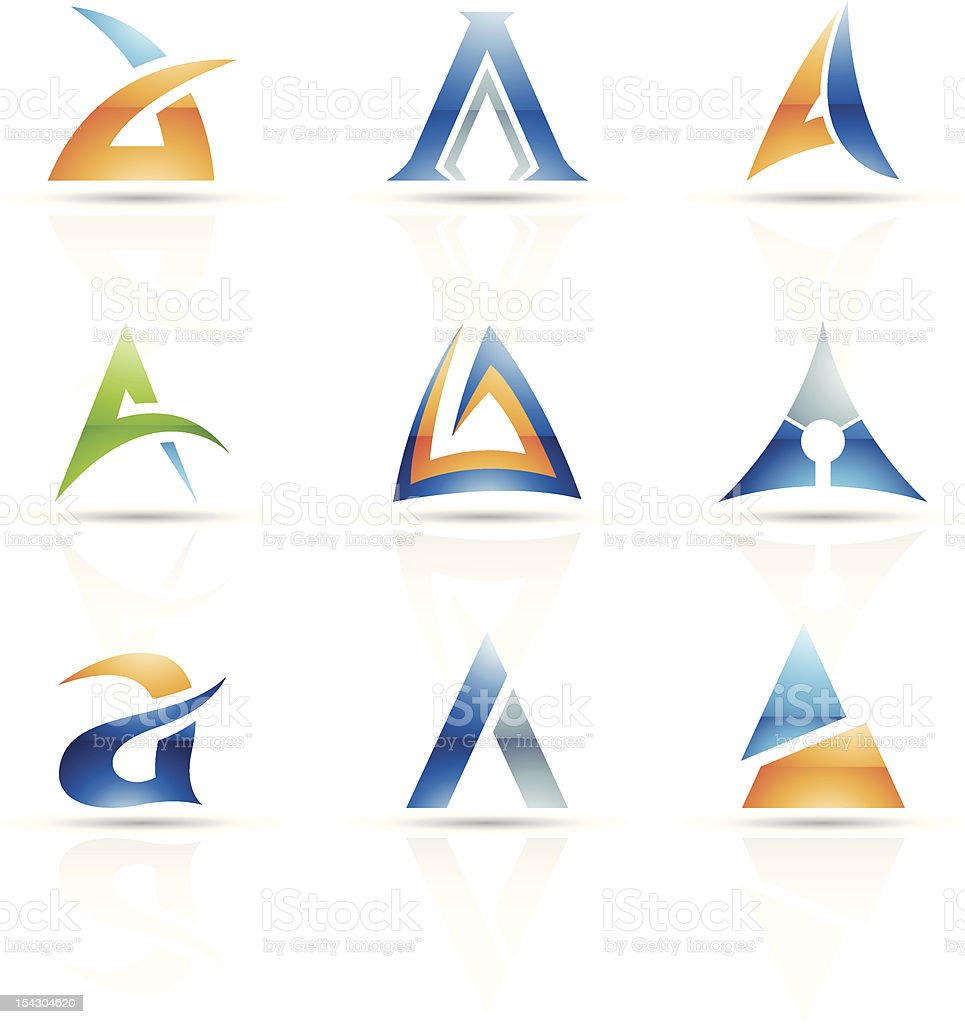 Abstract icons for letter A vector art illustration