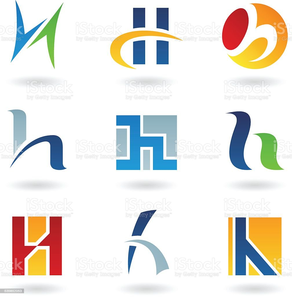 Abstract icons for letter H vector art illustration