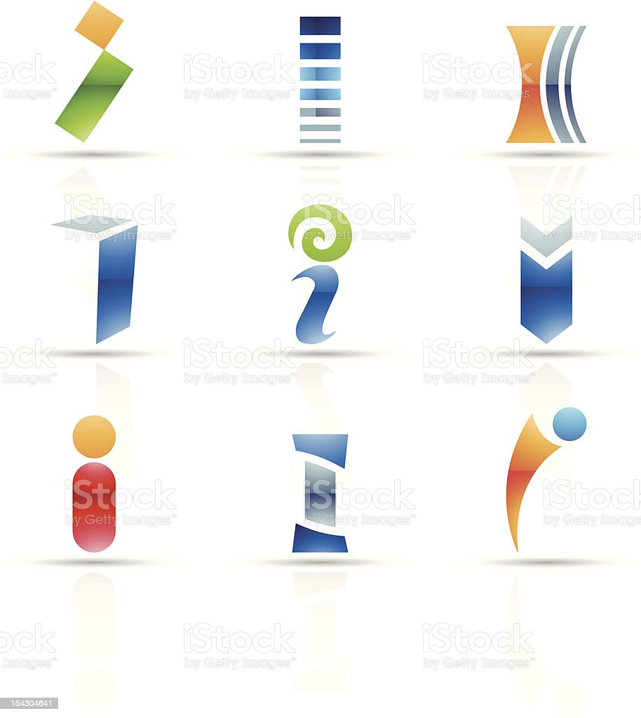 Abstract icons for letter I royalty-free stock vector art