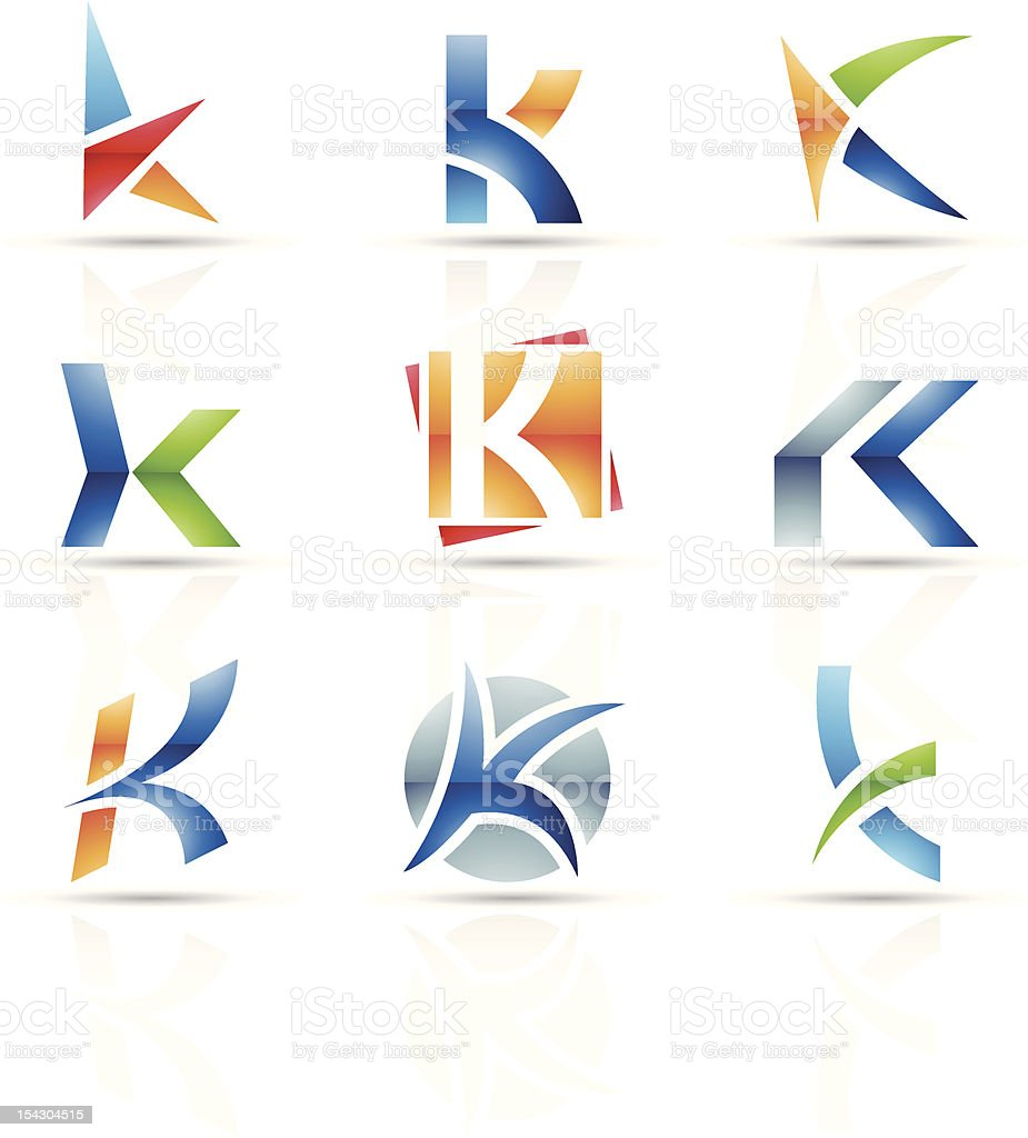 Abstract icons for letter K vector art illustration