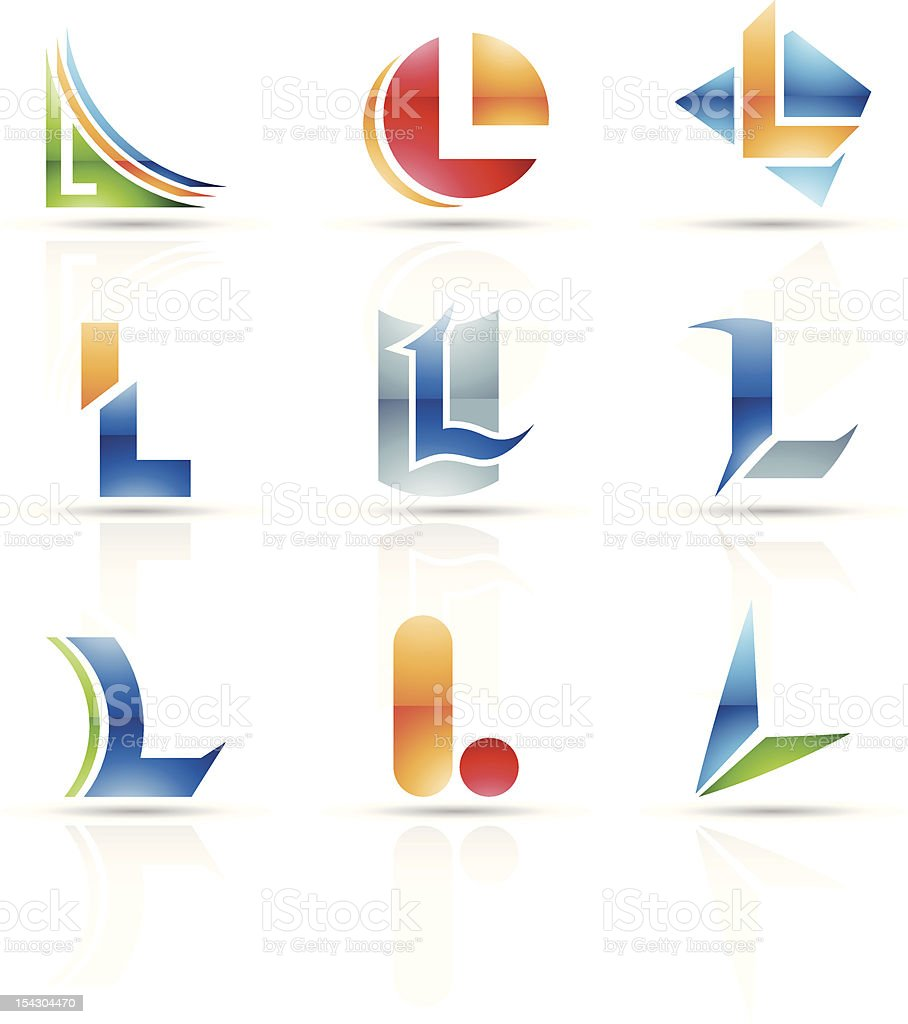 Abstract icons for letter L royalty-free stock vector art