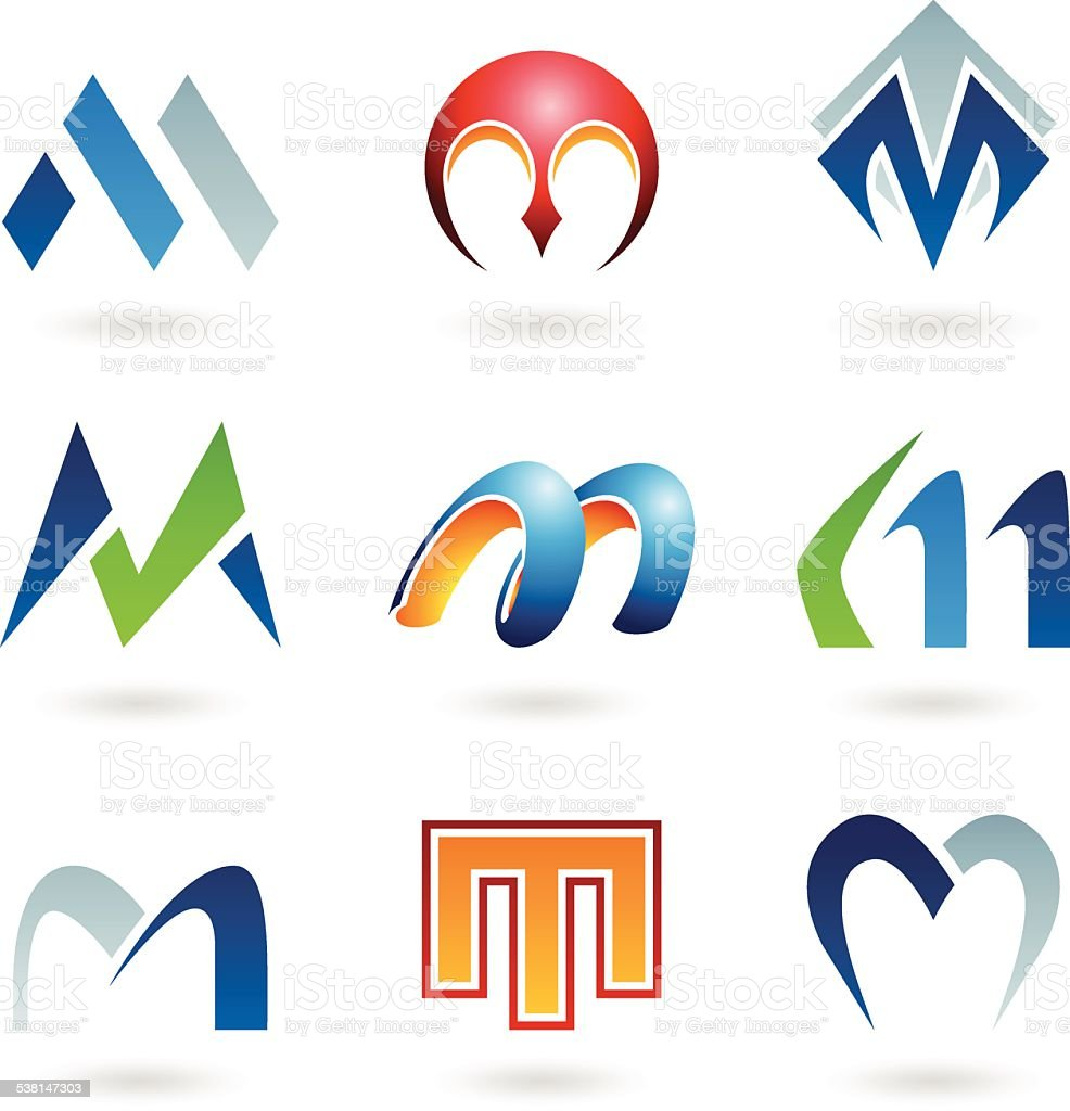 Abstract icons for letter M vector art illustration