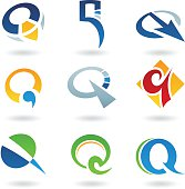 Abstract icons for letter Q