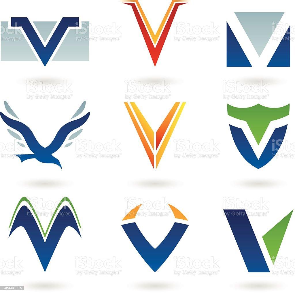 Abstract icons for letter V vector art illustration